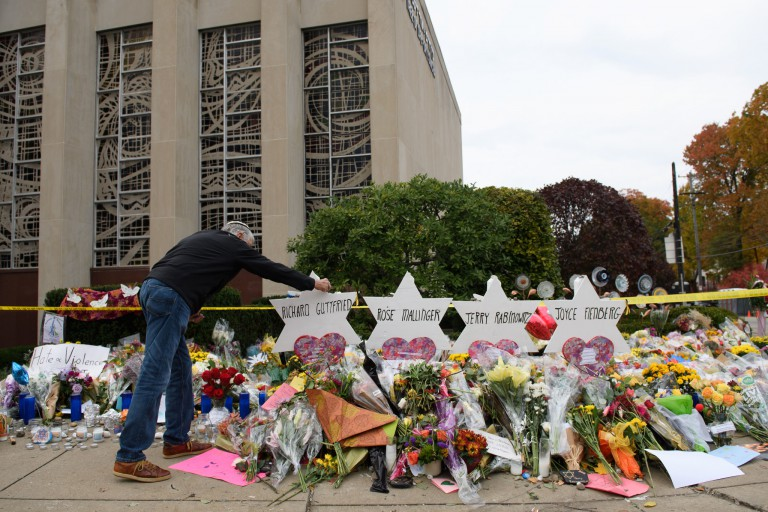 Memorials at the Tree of Life Synagogue in Pittsburgh