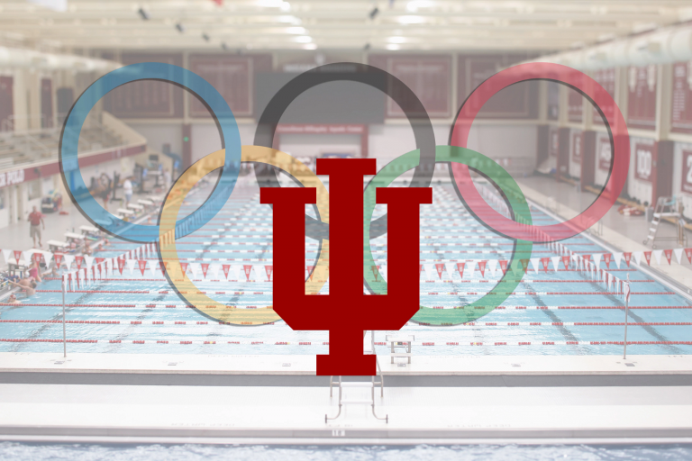 IU and Olympics logos placed on a wide picture of the IU pool
