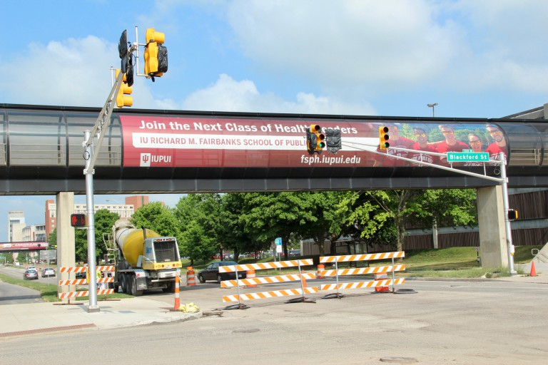 The intersection of Blackford and Michigan streets is under construction.