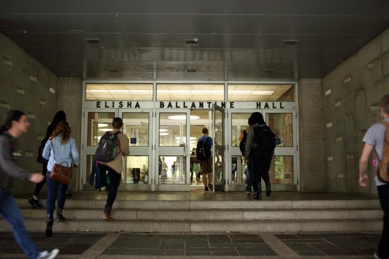 Students enter Ballantine Hall.