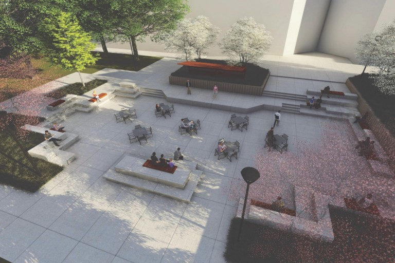 A rendering of a planned renovation to the plaza at the Anderson Library/Conference Center in Gary.