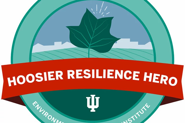 "Round logo that says, ""Hoosier Resilience Hero, Environmental Resilience Institute."""