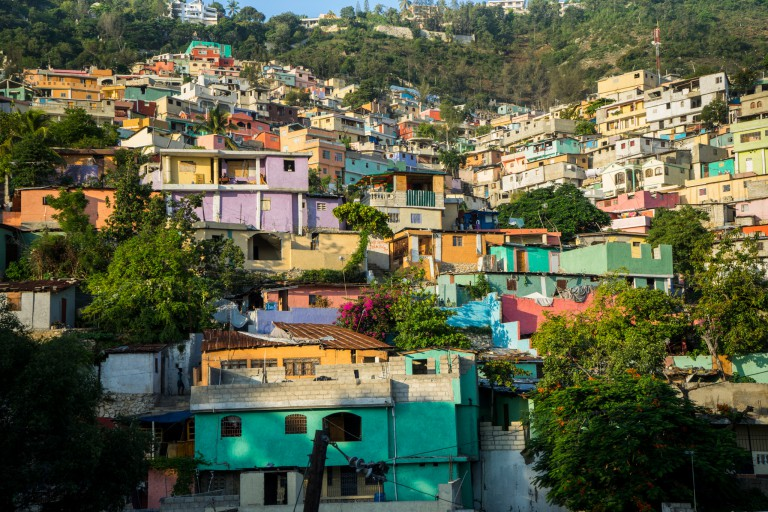 Hillside shantytown in Haiti