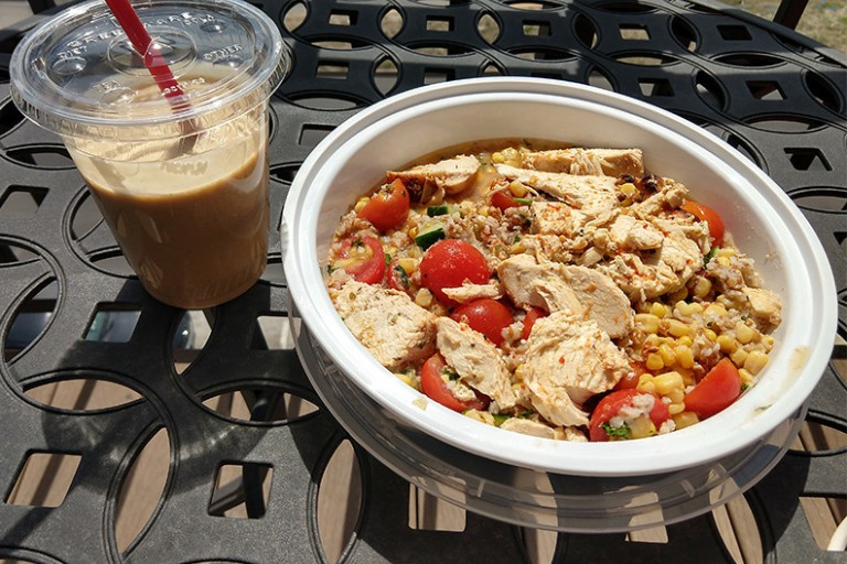 Simply Puur offers a grilled chicken bowl and protein smoothie