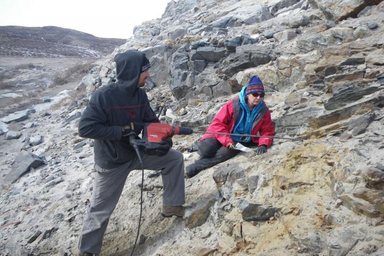 Lisa Pratt working in the field in Greenland