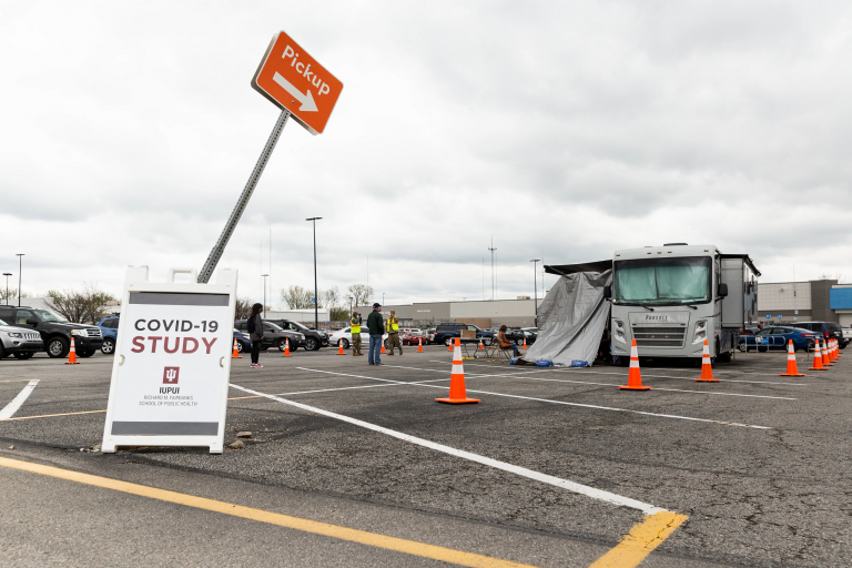 "A sign reading ""COVID-19 STUDY"" is posted outside an IUPUI testing site in April 2020"