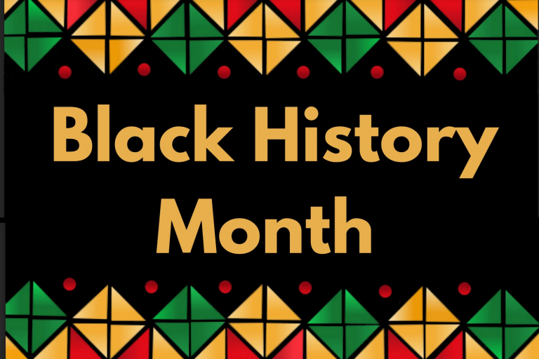 The words Black History Month on black background