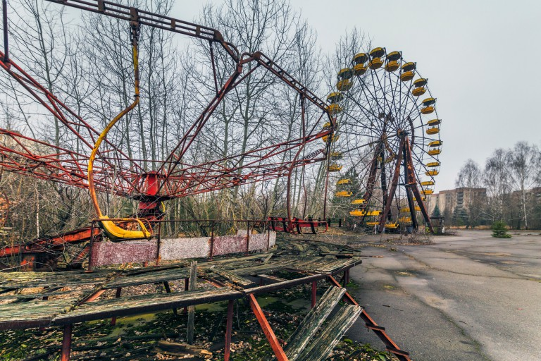 Abandoned amusement park in Pripyat near Chernobyl