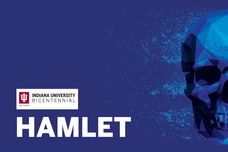 """Promotional poster for IU Theatre's 2019 production of """"Hamlet"""""""