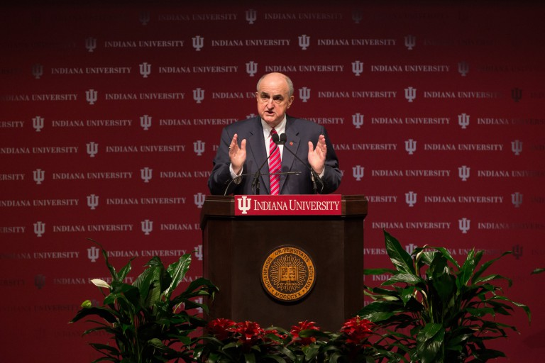 IU President Michael A. McRobbie speaks for the annual State of the University address.