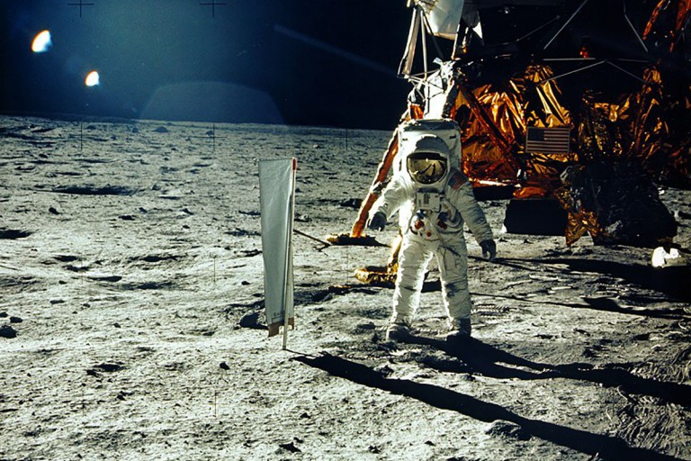 Apollo 11 astronaut Buzz Aldrin beside solar wind experiment courtesy NASA