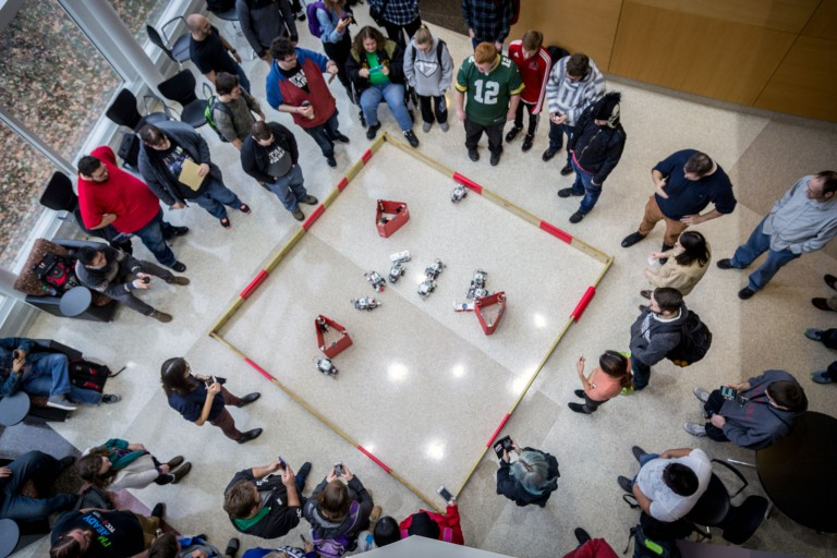 A view of the IU Kokomo robotics competition from above