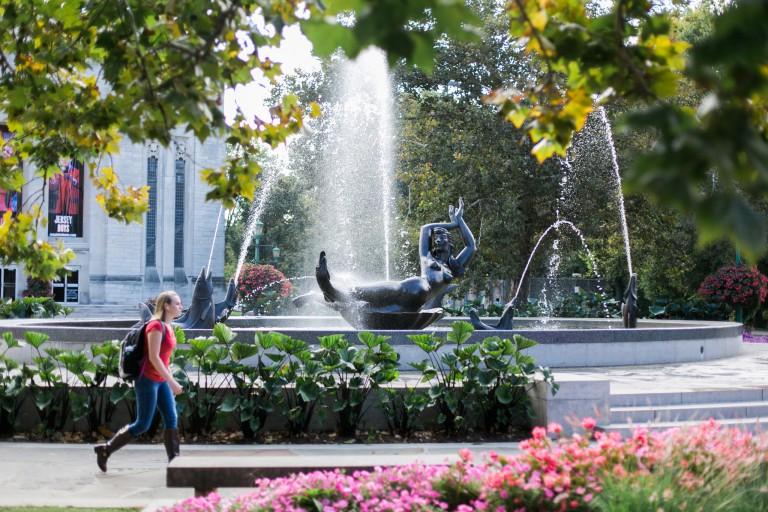 Showalter fountain on the IU Bloomington campus