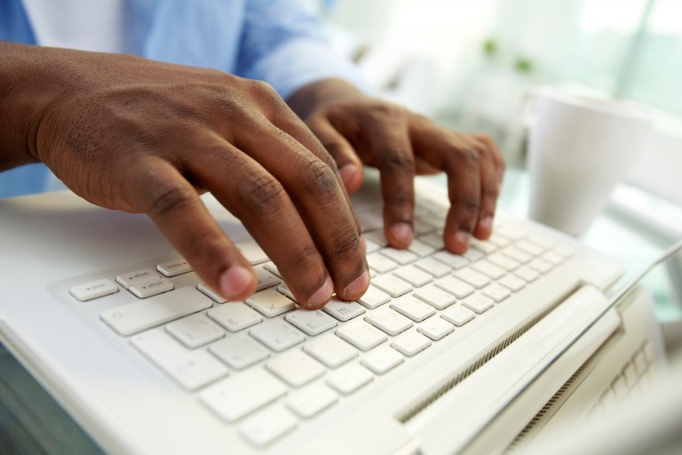 Hands on a keyboard