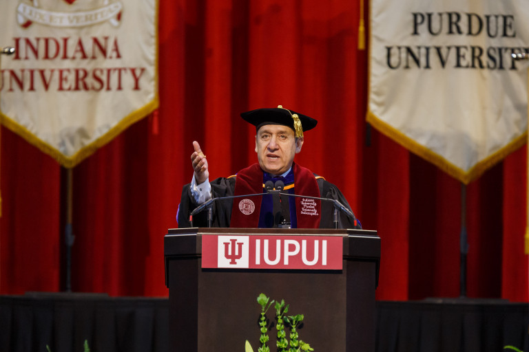 Chancellor Nasser H. Paydar speaks during a commencement ceremony