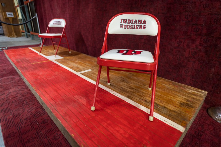 Pieces of basketball court floor on display at IU Surplus