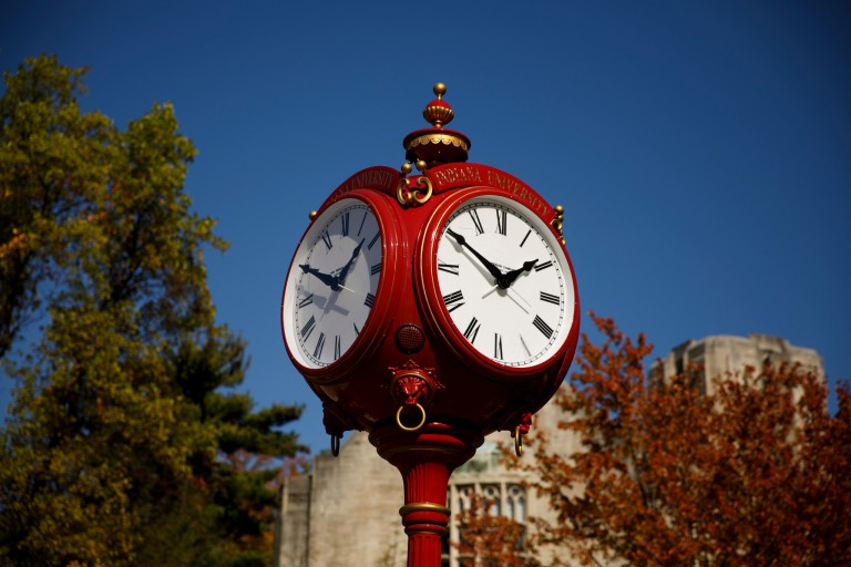 A red clock tower