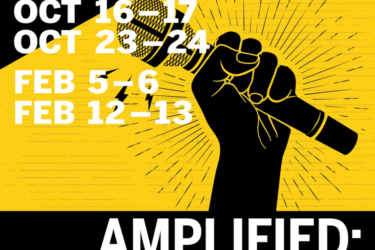 black-and-yellow graphic of black fist holding a microphone with the dates of the events