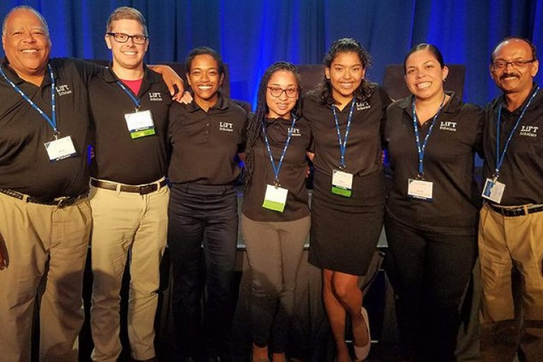 Bianca Chavis stands with other LiFT program scholars at symposium in Washington, D.C.