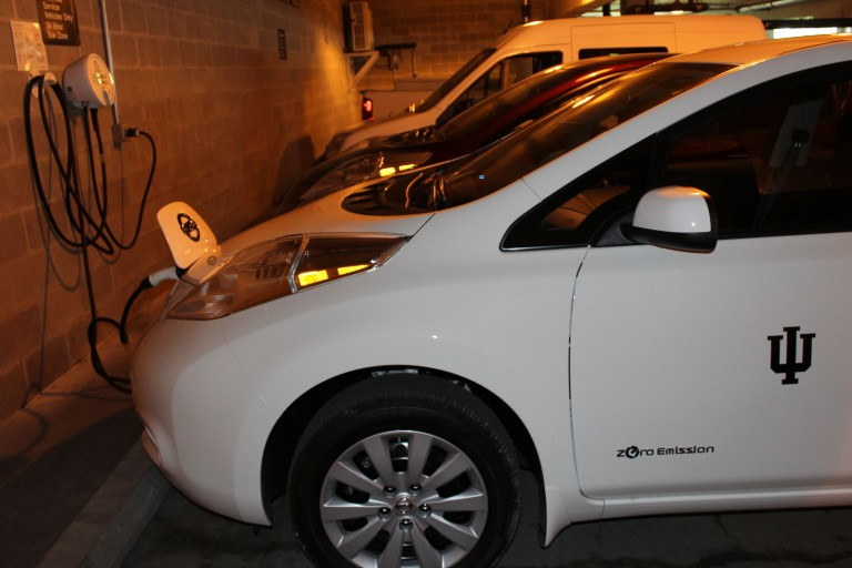 IU Fleet Services has four new all-electric Nissan Leaf vehicles.