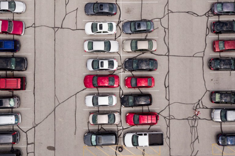 Overhead shot of a parking lot at IUPUI