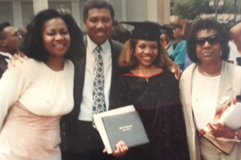 Anita Harden and her parents at a family graduation