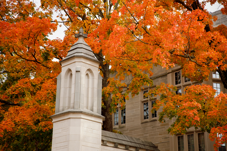 The Sample Gates are pictured on a fall day at Indiana University Bloomington.