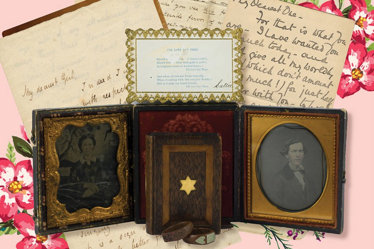 Letters and old photos arranged on a pink background