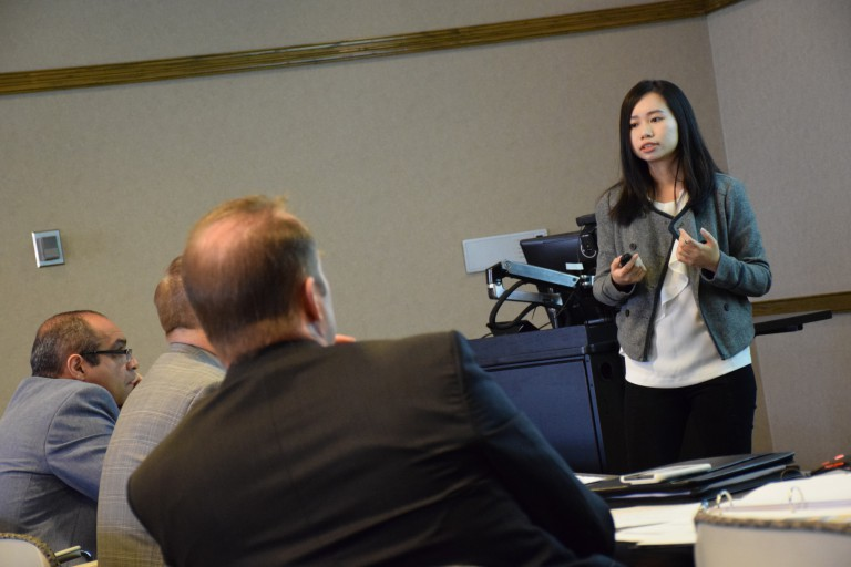 An IU Bloomington student pitches her technological innovation to a panel of judges.