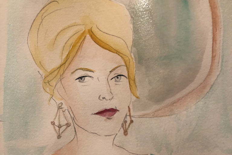 watercolor of a woman's head with a mirror behind her
