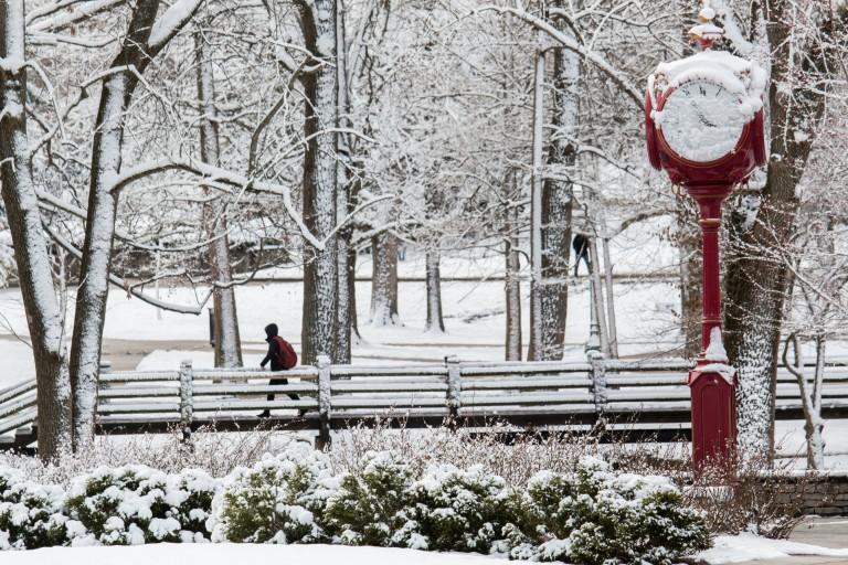 A snowy scene on the IU Bloomington campus.