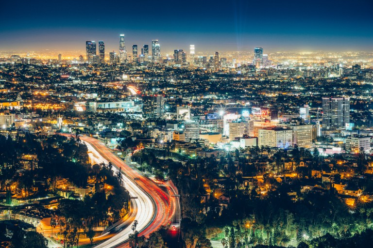The skyline of Los Angeles at night