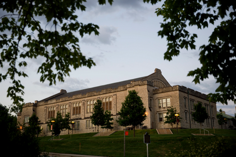 The School of Public Health building on a summer evening at IU Bloomington.