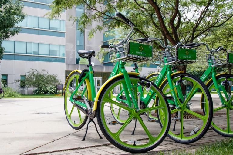 LimeBikes docked on the IU South Bend Campus