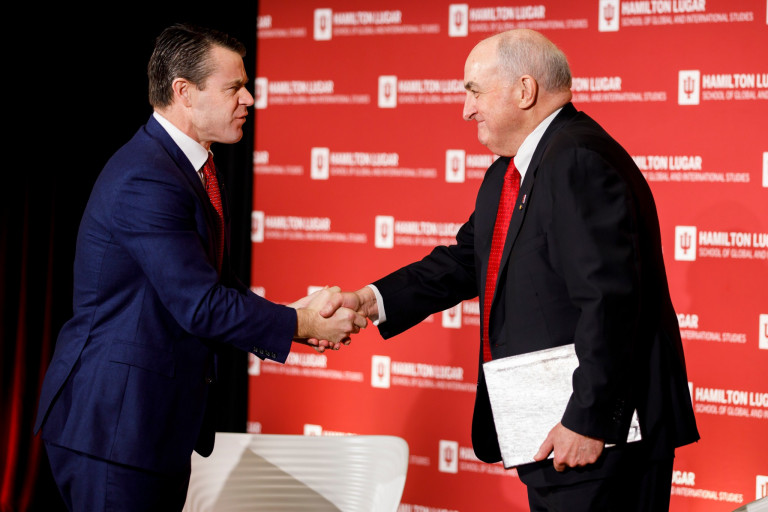 Todd Young shakes hands with Michael McRobbie