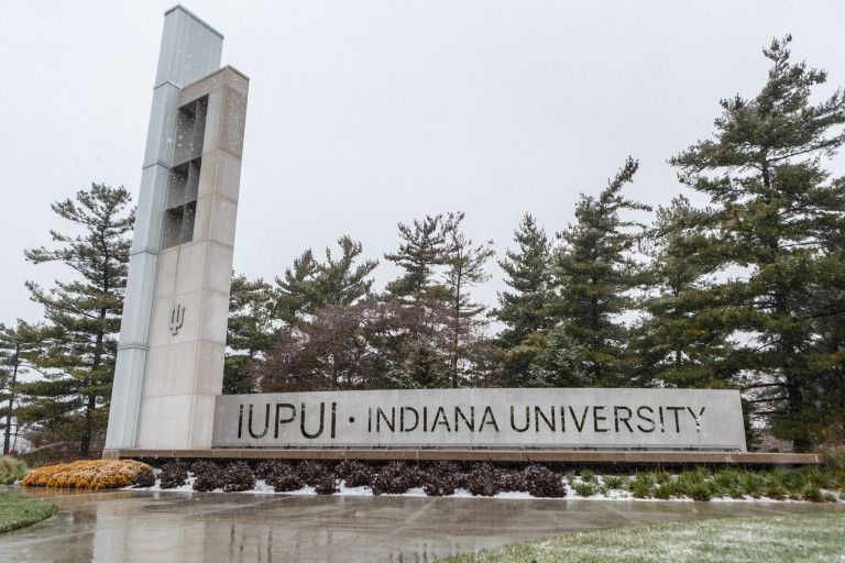 IUPUI campus sign frosted with snow