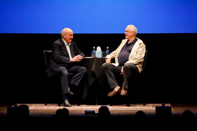 IU President McRobbie talks with comedian John Cleese