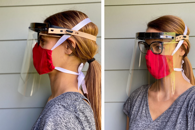 3d-printed face shield shown from front and side