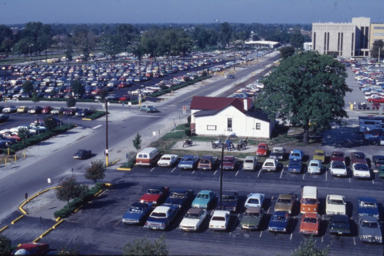 Aerial view of West Vermont Street with a house on the IUPUI campus in the 1970s