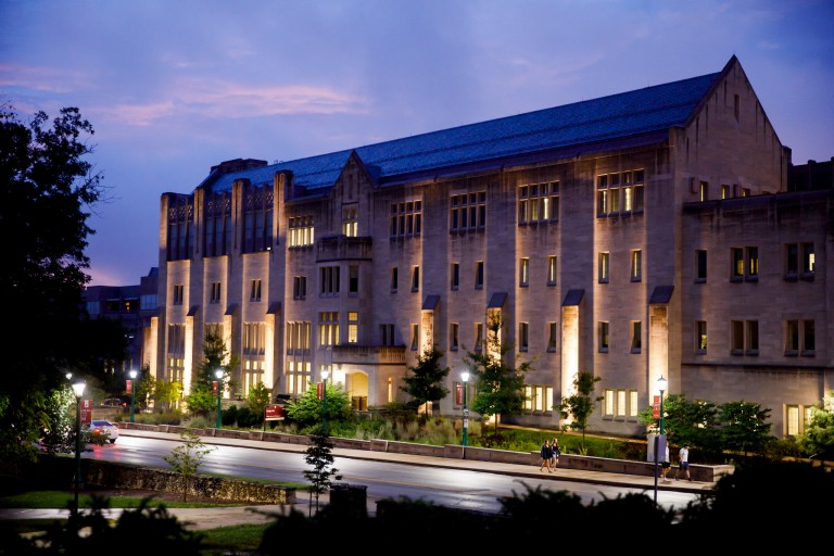 Exterior of Hodge Hall at night