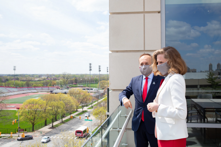 Chancellor Nasser Paydar meets with IU President-elect Pamela S. Whitten outside on a terrace