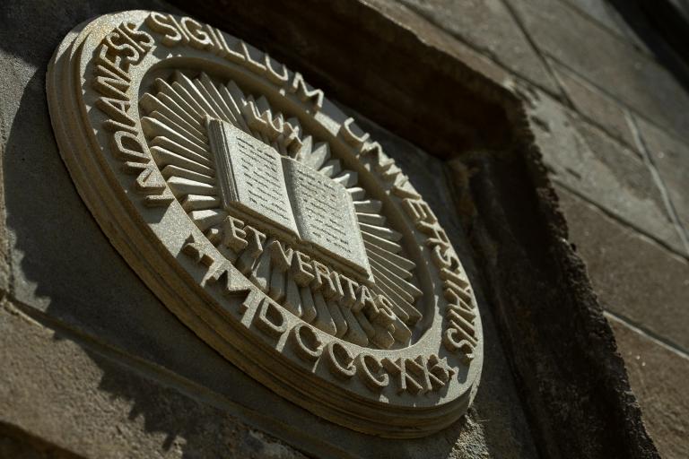 Limestone Indiana University seal at IU Bloomington