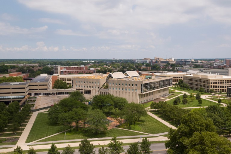 An aerial view of the IUPUI campus