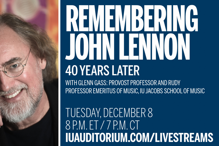 "Glenn Gass' portrait on left, ""Remembering John Lennon 40 Years Later"" on right"
