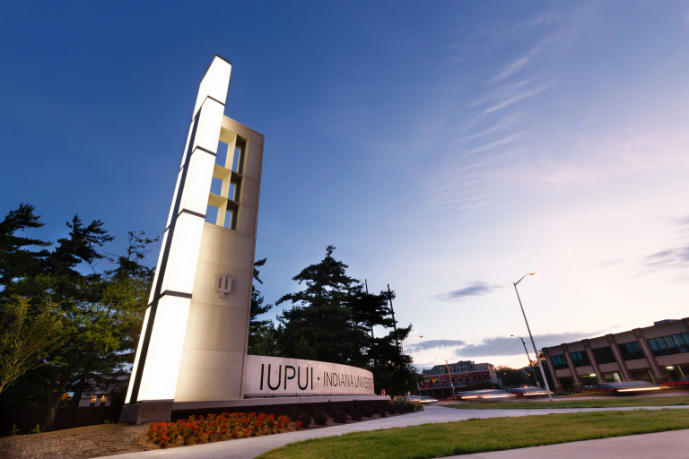 IUPUI campus gateway at Michigan Street