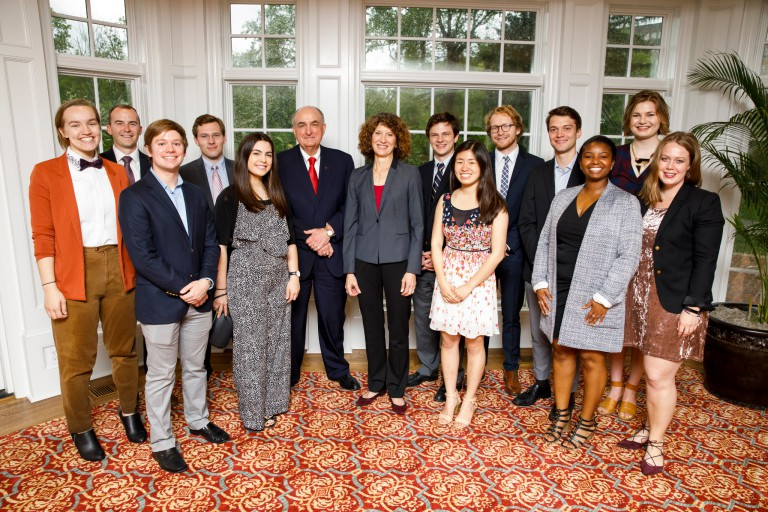 IU President Michael A. McRobbie with the 2016-17 Board of Aeons.