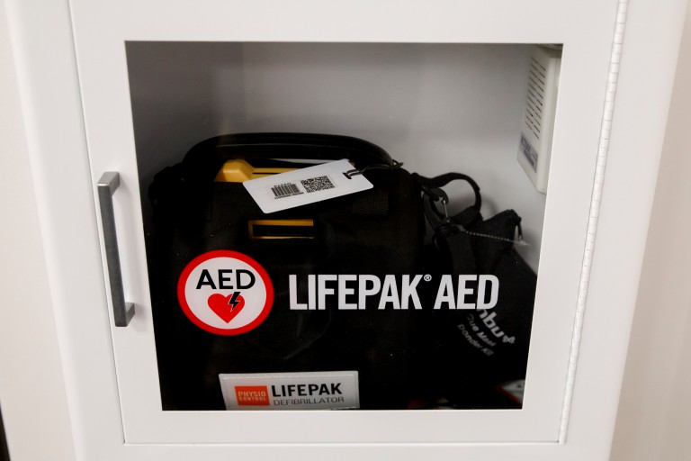 An AED in IU Cinema