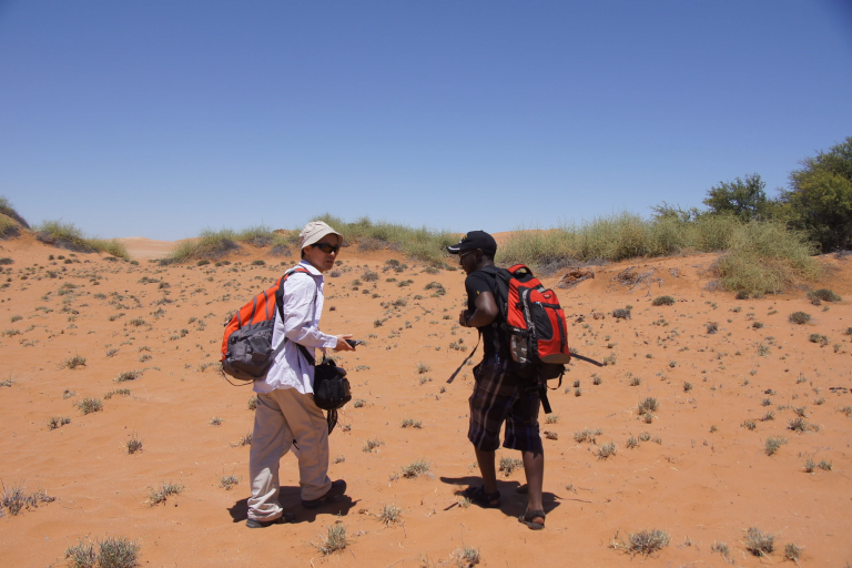Lixin Wang, left, and a colleague in the Namib Desert