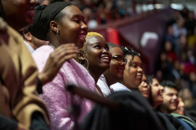 Students listen to Actress Viola Davis speak during the Day of Commemoration.
