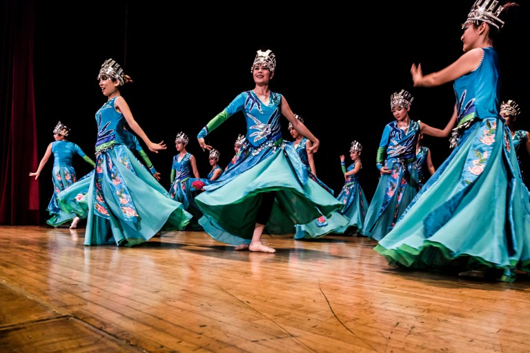 Dancers perform during the IU World's Fare